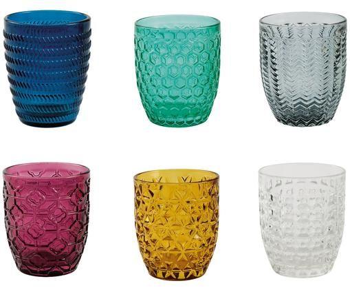 Wassergläser Geometrie mit Strukturmuster in Bunt, 6er-Set, Blau, Grün, Grau, Rosa, Goldgelb, Transparent