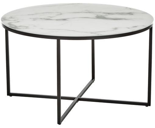Mesa de centro Antigua con tablero de vidrio, Mármol blanco grisaceo, negro