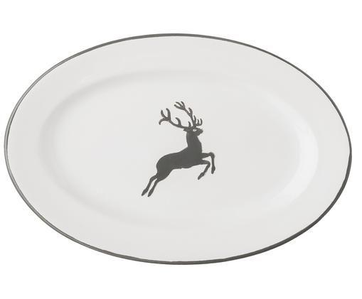 Servierplatte Gourmet Grauer Hirsch, Grau,Weiß