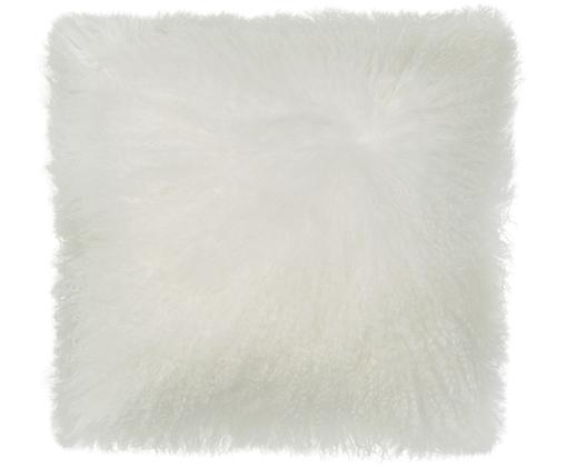 Langhaar-Lammfell Kissenhülle Ella, gelockt, Weiß