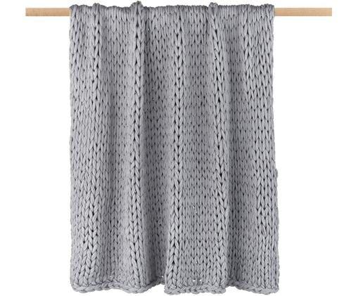 Plaid a maglia, intrecciato Adyna, Grigio chiaro