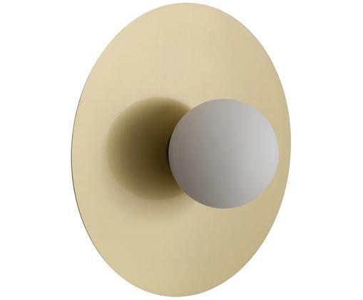 LED wandlamp Starling, Baldakijn: mat messingkleurig. Lampenkap: wit