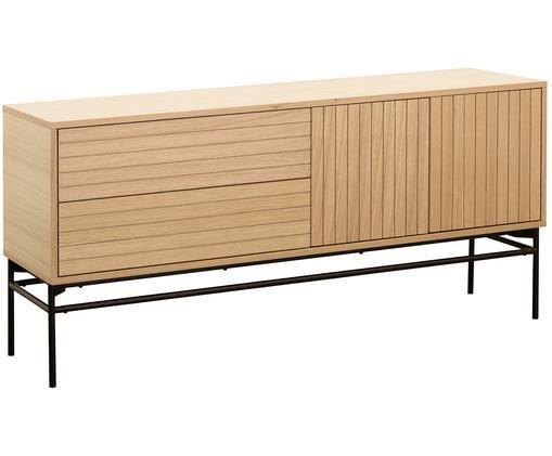 Modernes Sideboard Johan, Korpus: EichenholzfurnierFüße: Schwarz, matt