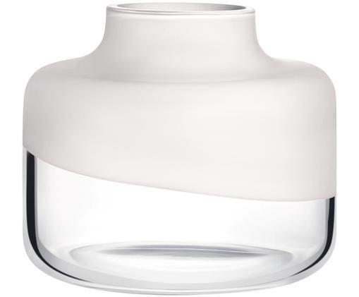 Handgefertigte Glas-Vase Magnolia, Weiß, transparent