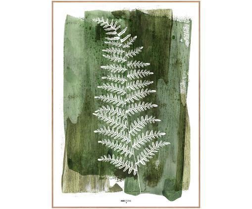 Oprawiony druk cyfrowy White Fern, Zielony, biały