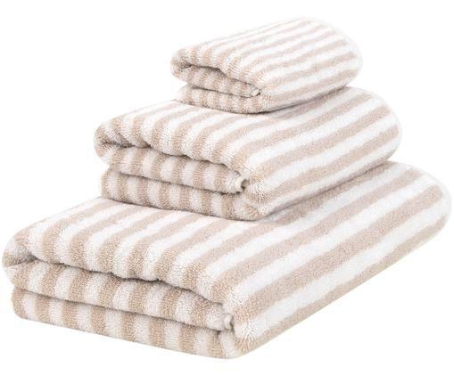 Set asciugamani reversibili Viola, 3 pz., Sabbia, bianco crema