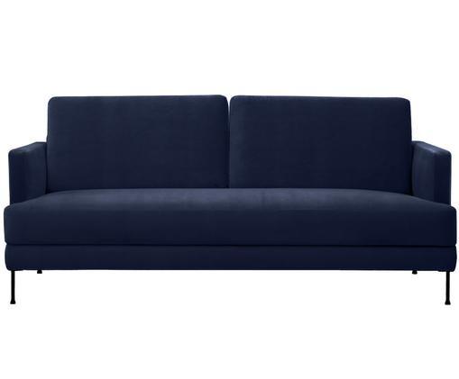 Samt-Sofa Fluente (3-Sitzer), Dunkelblau, Samt