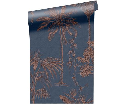 Tapete Luxury Palm, Navyblau, Roségoldfarben
