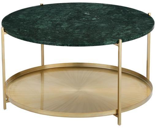 Runder Marmor-Couchtisch Victoria mit Ablage, Tischplatte: Grüner Marmor Gestell: Goldfarben, matt