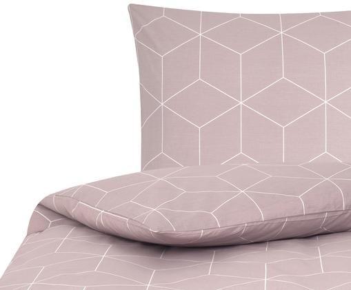 Renforcé-Bettwäsche Lynn mit grafischem Muster, Altrosa, Cremeweiß