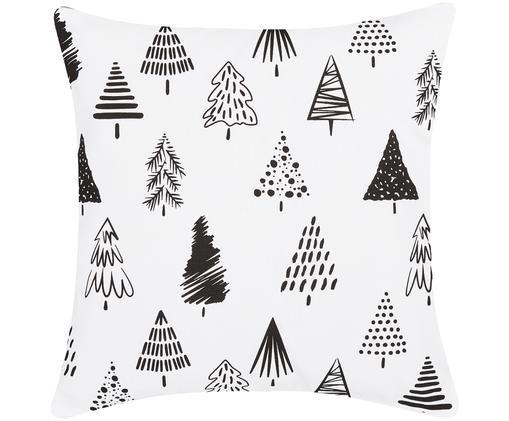 Kissenhülle Scandi mit Weihnachtsbäumen, Weiß, Schwarz