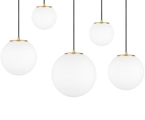 Lampada a sospensione Tsuki, Bianco opalino, nero, ottonato