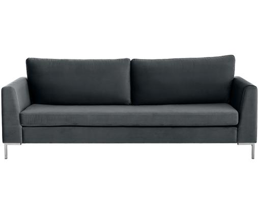 Samt-Sofa Luna (3-Sitzer), Dunkelgrau