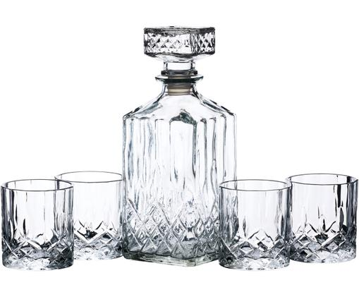 Whisky-Set Coronam mit Reliefmuster, 5-tlg., Transparent