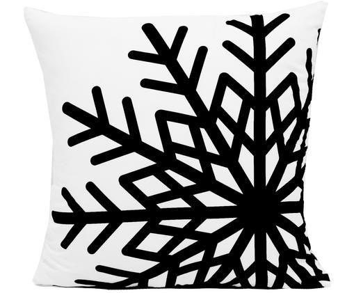 Kissenhülle Snowflake, Schwarz, Weiß