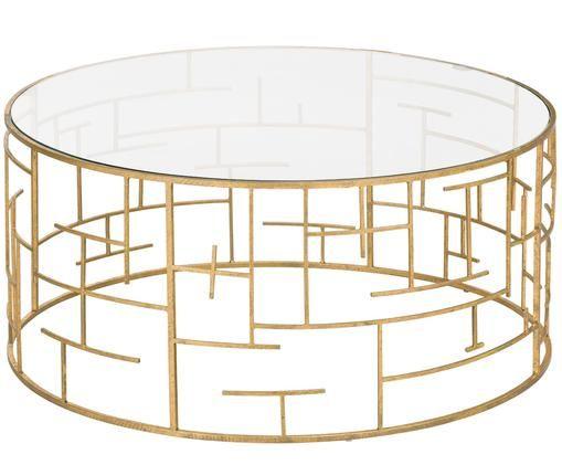 Goldfarbener Couchtisch Nola mit Glasplatte, Goldfarben