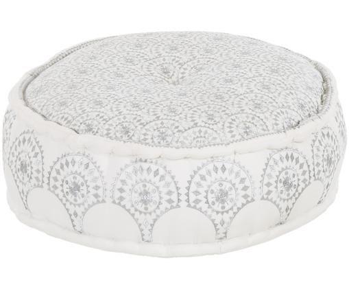 Rundes Bodenkissen Casablanca mit besticktem Muster, Weiß, Silberfarben