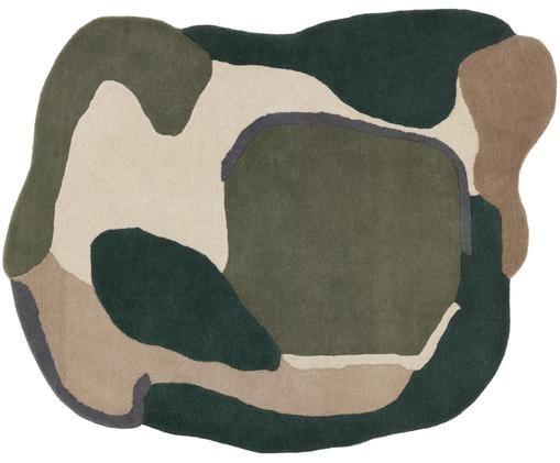 Alfombra de lana Oblivian, Verde, beige