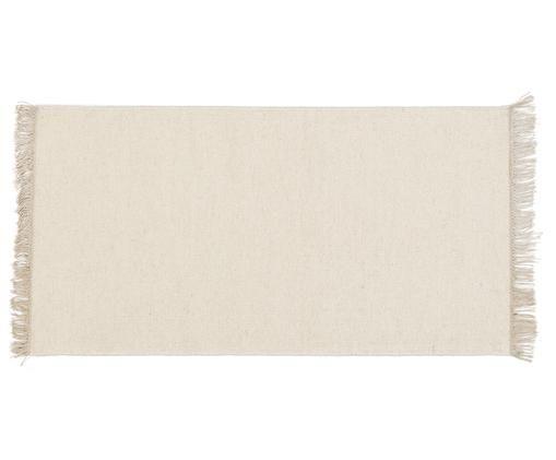 Handgeweven wollen vloerkleed Rainbow in gebroken wit met franjes, Vloerkleed: gebroken wit. Franjes: beige