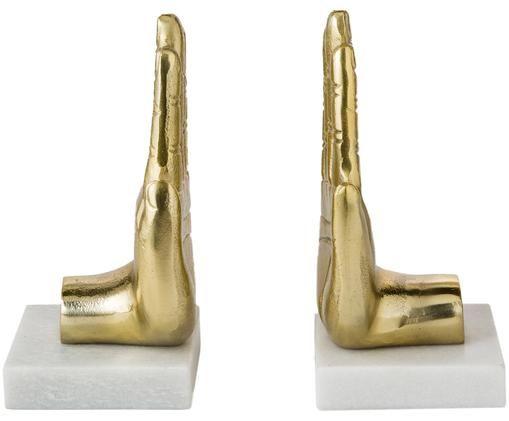 Buchstützen-Set Hand, 2-tlg., Goldfarben, marmor