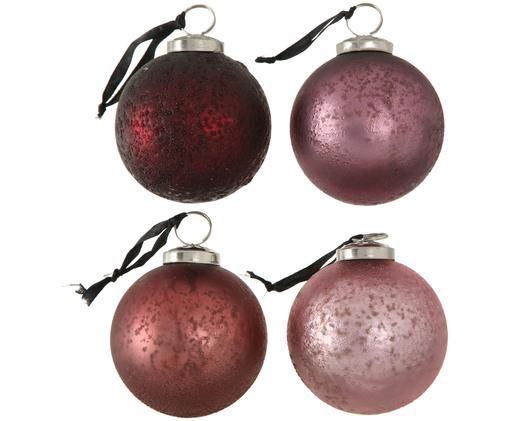 Set palle di natale Amelia, 4 pz., Tonalità rosa, rosso