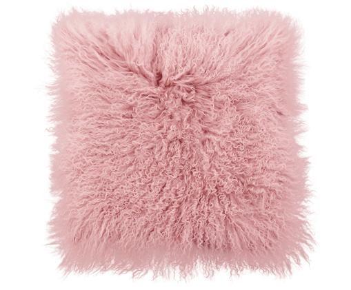 Federa arredo in pelliccia d'agnello a pelo lungo Ella, Rosa