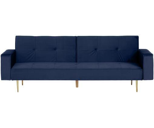 Divano letto in velluto Bridgit, Rivestimento: blu Piedini: dorato lucido