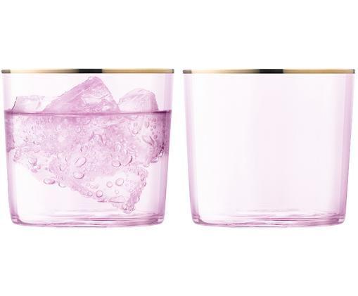 Mundgeblasene Wassergläser Sorbet mit Goldrand, 2er-Set, Rosa, Goldfarben