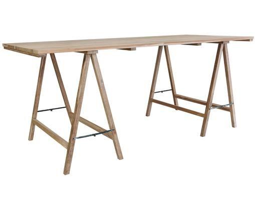 Massief houten tafel Trestle in scandi design, Teakhoutkleurig