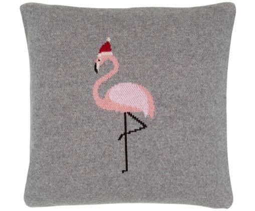 Funda de cojín de punto Flamingo, Gris, multicolor