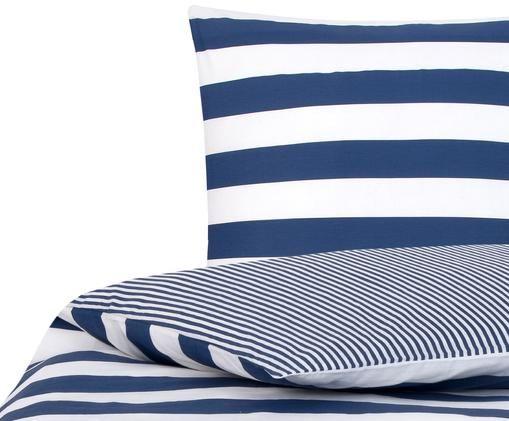 Dubbelzijdig renforcé dekbedovertrek Lorena, Wit, blauw