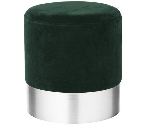 Puf de terciopelo Harlow, Verde oscuro, plateado
