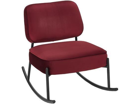 Fluwelen schommelstoel Viggo, Bekleding: donkerrood. Frame: mat zwart