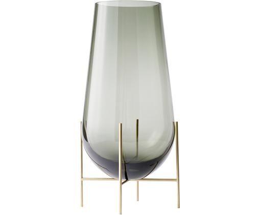Mundgeblasene Design-Vase Échasse, Messingfarben, Grau