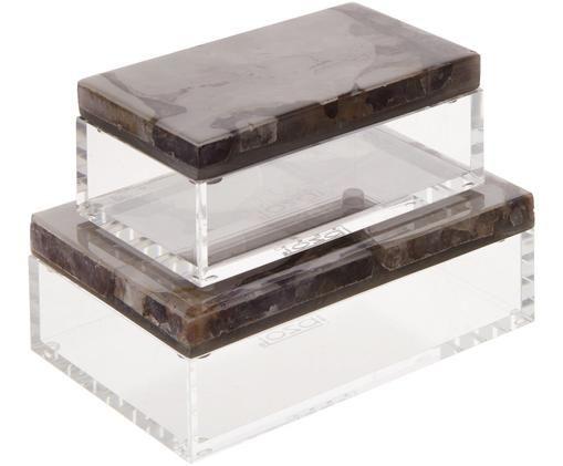 Set scatole custodia Amethyst, 2 pz., Trasparente, multicolore