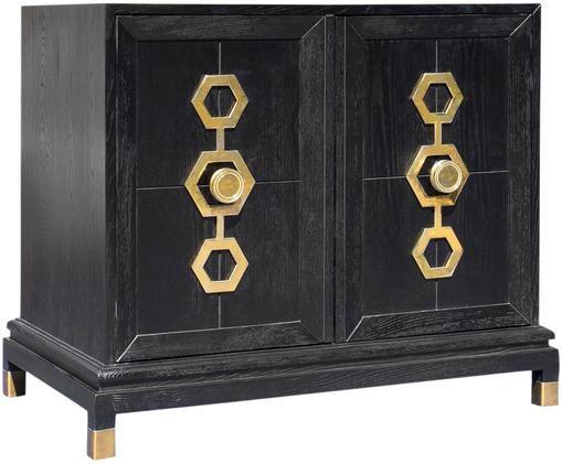 Ladekast Turner Cabinet, Essenkleurig, zwart, goudkleurig