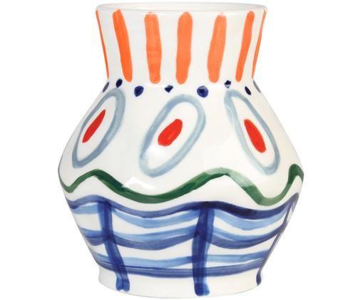 Handgemaakte vaas Dalil, Wit, blauw, groen, oranje