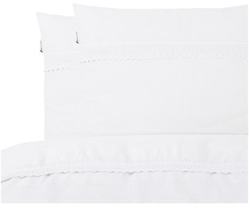 Renforcé dekbedovertrek Simone, Bovenzijde: wit met kanten rand. Onderzijde: wit, glad