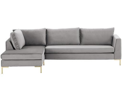 Canapé d'angle en velours Luna, Gris-beige