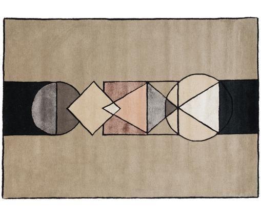 Ręcznie tuftowany dywan z wełny Aki, Odcienie piaskowego, odcienie szarego, blady różowy