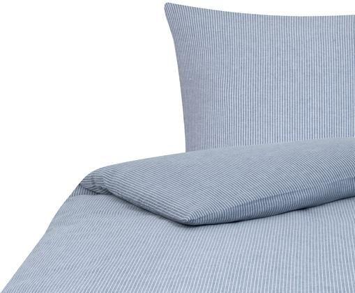 Flanell-Bettwäsche Rae, gestreift, Blau, Weiß