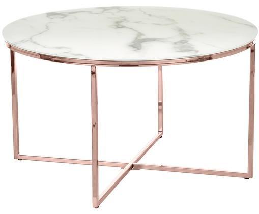 Tavolino da salotto Antigua con piano in vetro marmorizzato, Bianco-grigio marmorizzato, colori rosa