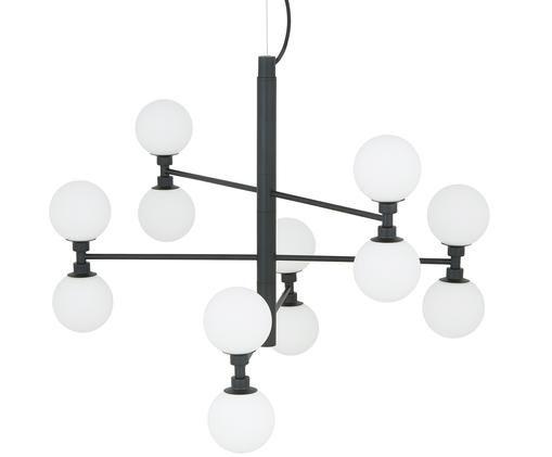 Glaskugel-Pendelleuchte Grover, Schwarz, Weiß