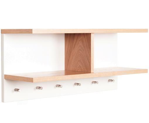 Weiße Wandgarderobe Northgate aus Holz, Eichenholz, Weiß