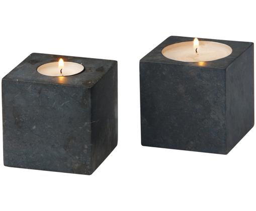 Set de portavelas de mármol Hammam, 2pzas., Gris oscuro