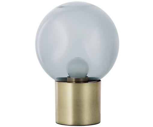 Tafellamp Lark, Lampenkap: grijs, transparant. Lampvoet: mat messingkleurig