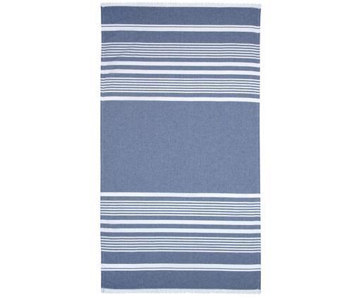 Asciugamano hammam Nora, Blu jeans, bianco crema