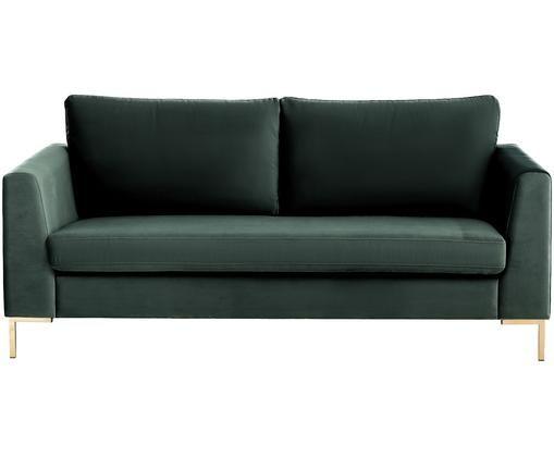 Samt-Sofa Luna (2-Sitzer), Dunkelgrün