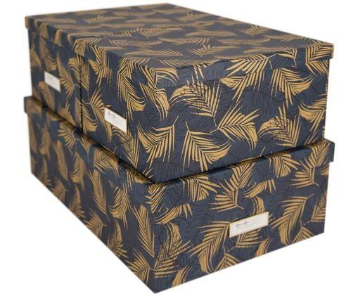 Aufbewahrungsboxen-Set Inge, 3-tlg., Goldfarben, Graublau