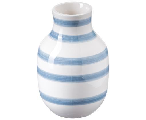 Handgemaakte vaas Omaggio Medium, Lichtblauw, wit